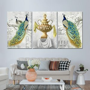 ingrosso decorazione del pavone della parete della casa-3 pezzi Beautiful Peacock Animal Flower Wall Art Poster Picture Pittura Home Decor Canvas Stampa per il soggiorno