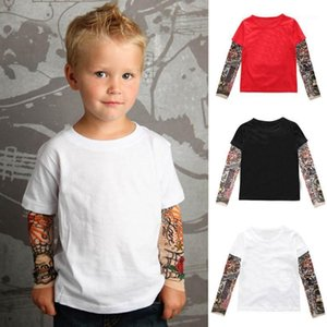Wholesale baby tattoo sleeve shirts resale online - Fake Tattoo Shirts For Kids Toddler Baby Kids Boys blouse With Mesh Tattoo Printed Long Sleeve Pullover Cool Tee Tops Moda Niño1