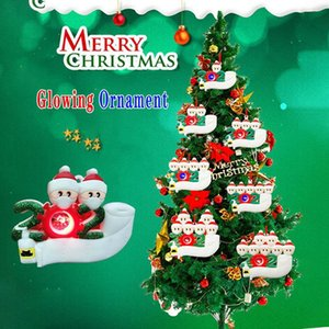 Wholesale personalized ornament for sale - Group buy Personalized Christmas Glowing Ornament DIY Name Survived Family Christmas Tree Hanging Pendant Party Gift Home Decor DDA665