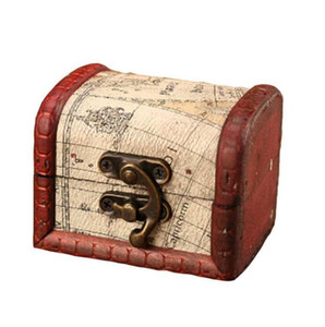 Wholesale chinese wooden jewelry resale online - Vintage Jewelry Box Mini Wood World Map Pattern Metal Container Organizer Storage Case Handmade Wooden Small Boxes Sweet Boxes WMQ366