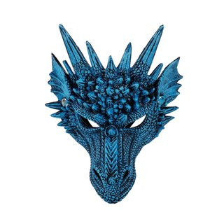 Wholesale scare mask resale online - x d Blue Dragon Hal Face Costume Party Decorations Sot Cosplay Scared Halloween Mask for Kids Teens