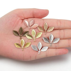 Wholesale gold leafing resale online - 20pcs x2m Metal Filigree Leaf Pendants Gold Silver Color Floating Charms Accessoies For Diy Jewelry Making Lead Nickel Free H wmtmoU