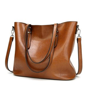 Wholesale oil saddle for sale - Group buy Women Shoulder Bag Fashion Women Handbags Oil Wax Leather Large Capacity Tote Bag Casual Pu Leather Messenger