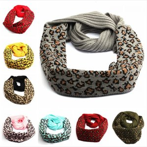 Wholesale leopard print cotton scarves for sale - Group buy 9 Styles Knitted Leopard Scarf Woman Wool Autumn Winter Warm Knitting Scarves Crochet Neck Gaiter Fashion Printed Neckerchief LJJP595