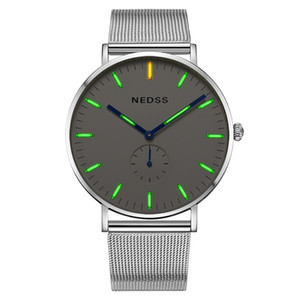 Wholesale dw couples watches for sale - Group buy Top brand NEDSS couple watch tritium Mens Watches luminous slim case DW Male Steel functional Quartz Watch Wrist Sport Watch T200409