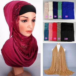 Wholesale solid cotton shawls scarves resale online - 20 color lace plain solid color lace cotton fashion print long shawls muslim hijab head scarves scarf M3620