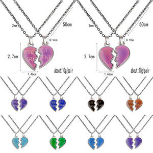 Wholesale love heart wing necklace resale online - Thermochromic Couple Necklace Angel Wing Love Heart Necklace Valentines Day Gifts Best Frind Stainless Steel Chain