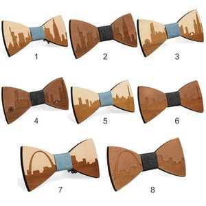 Wholesale famous ties for sale - Group buy Famous American City Pattern Handmade Bamboo Wooden Bow Ties Adjustable Men Boys Wedding Party Necktie Bowknot Suit Accessory