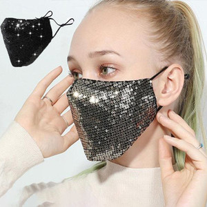 Wholesale mouth covering mask resale online - In Stock Fashion D Pattern Reusable Washable Mask PM2 Face Care Shield Sun Color Gold Elbow Sequins Shiny Face Cover Anti dust Mouth
