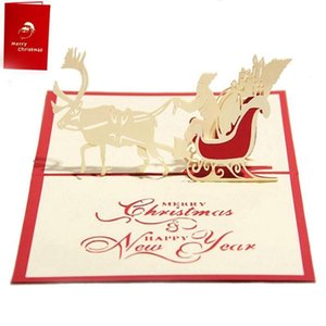 Wholesale greeting car resale online - Handmade Blank D Up Greeting Card PostCards Christmas Deer car with Matching Envelope Laser Cut Surprisingly Perfect Decora