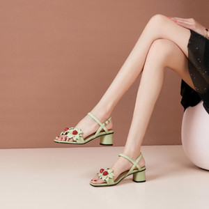 Wholesale sexy flower shoes resale online - 2021 New Summer Women s Shoes Sexy Sandals Fashion Leather Flowers Women s Shoes Casual High Heels Party Catwalk