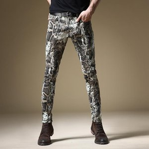 Wholesale skinning jeans resale online - Fashion Snake Skin Printed Jeans Men Straight Slim Fit Pants