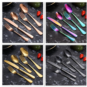 Wholesale piece flatware resale online - Dinner Set Dinnerware Piece Flatware Set Stainless Steel Cutlery Set Knife Dessert Spoon Fork