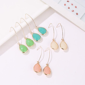 Wholesale dropping earings resale online - Water Drop Earring For Women Simple Jelly Color Fashion Crystals Earings