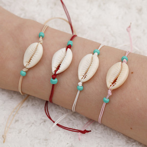 Wholesale charm bracelet seashells resale online - Natural shell Lucky Charm bracelets White Card For Women Men Beach Seashell Colorful String Rope beads chains Bangle DIY Jewelry O2