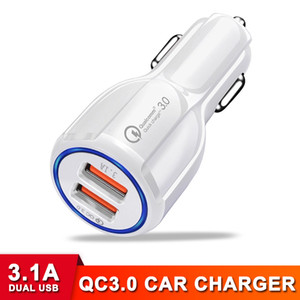 Wholesale electronic vehicles resale online - High Speed QC A Dual USB Car Charger Fast Charging Vehicle Adapter Quick Certified Charger for Cell Phone Electronics