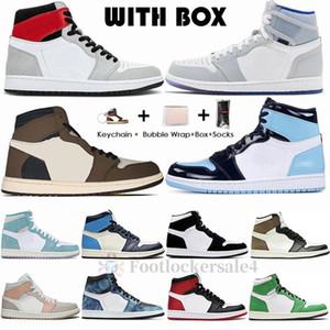 1s Light Smoke Grey UNC Mens Basketball Shoes Jumpman 1 High Travis Scotts Racer Blue Obsidian Trainers Mushroom Sports Sneakers Size 36-47
