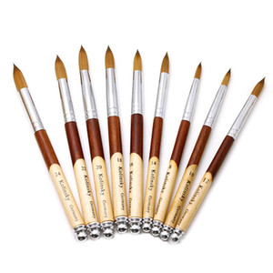 1PC Kolinsky Sable Acrylic Nail Art Brush No. 2 4 6 8 10 12 14 16 18 UV Gel Carving Pen Brush Liquid Powder DIY Nail Drawing