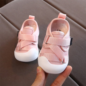 Wholesale newborn baby girl shoes size resale online - Toddler Baby Shoes For Girl Kids Sneakers Cross tied Mesh Soft Bottom Infant First Walkers Shoes Newborn Pure Color Casual Shoes LJ201214