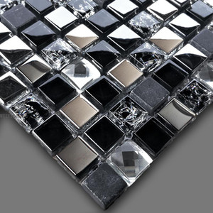 Wholesale crystal glass mosaic tiles for sale - Group buy Shiny Mirror Crystal Glass mixed Black Marble Stone Mosaic Tile for Kitchen Backsplash Bathroom Shower Cabinet Hallway wall deco