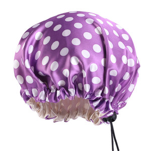 Wholesale baby hat bonnet resale online - Adjusting Bath Animal Baby Hat Buckle Hair Care Bonnets Silk Satin Fitted Sleep Hats Round Head Wrap Bathroom Products ba B2
