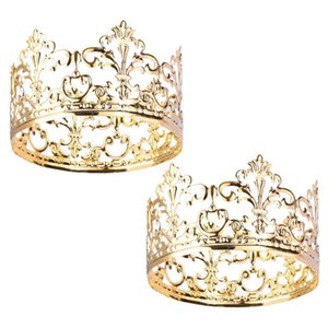 Wholesale queen king crowns resale online - 2pcs Gold Crown Cake Topper Elegant Princess Crown Cake Topper Decoration For King Queen Prince And Princess Themed Parties