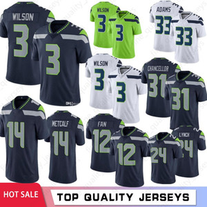 jersey de canciller al por mayor-3 Russell Wilson Men Football Jerseys Bobby Wagner Jamal Adams DK Metcalf Tyler Lockett S Thomas Canciller Venta caliente S XXXL