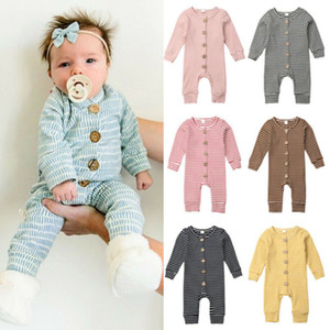 Wholesale knitted baby clothes boy resale online - Winter Baby Clothes Striped Infant Boys Rompers Knitted Newborn Girl Jumpsuits Long Sleeve Toddler Outfits Boutique Children Clothing YHM137