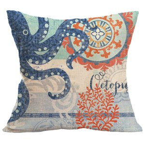 Wholesale nautical shell for sale - Group buy Mediterranean Sea Shell Cushion Cover Mediterranean Decoracion Marinera Blue Nautical Pillow Cover Not include Pillow PPD3893