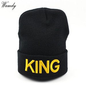 Wholesale kings hats gold for sale - Group buy Beanies KING QUEEN Letter Embroidery Warm Hat Knitted Cap Hip Hop Men Women Lovers Street Dance Bonnet Skullies Black White
