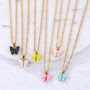 Wholesale cute korean charms resale online - UMKA Korean Cute Butterfly Necklace For Women Gold Long Chain Pendant Necklace Statement Chokers Fashion Charm Jewelry Gifts1
