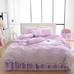 Wholesale pink white bedspread resale online - Princess Girls Ruffle Lace Solid Light Purple Grey Pink White Blue Bedding Set Queen King Size Cotton Duvet Covers Bedspread