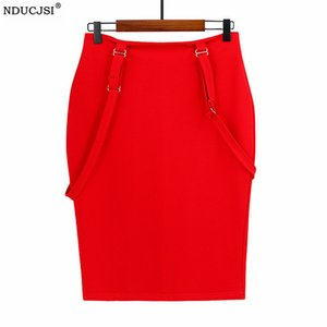 Wholesale overall skirts resale online - NDUCJSI Pencil Overall Skirt High Waist Suspender Cotton Zipper Bodycon Shoulder Straps Plus Size Office Bottom Fashion Women Q0119