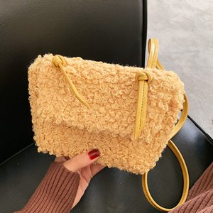 Wholesale hair packing for girl resale online - Girls Shoulder Bag Winter Small Crossbody Bags For Women Artificial Lamb Hair Purse And Handbag Ladies Bag Warm Fur Packs C1020