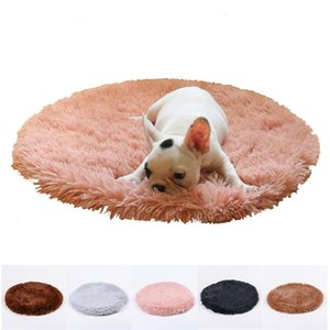 Wholesale covers for mattresses resale online - Long Plush Pet Mats Round Bed Fluffy Blanket Deep Sleeping Soft Cover for Dog Solid Cat Mattress