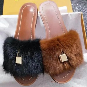 Wholesale indoor locks for sale - Group buy Women Slides Fashion Slippers Lock it Flat Mules Mink Fur Sandals Genuine leather Slides Summer Flat Flip Flops Beach Party With Box