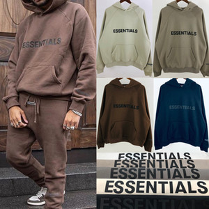 FOG Fear of God Essentials Pullover Hoodie 3D Silicon Applique Front Logo Fleece Hoodie Casual Oversize Sweatshirt Hip Hop Streetwear