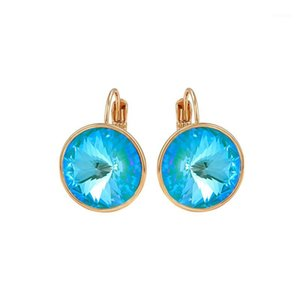 Wholesale earings for girls resale online - Round Hoop Earings made with Austria Crystal for Women Party Jewellery Gold Color Cute Bella Designer Earrings Girls Bijoux Gift1