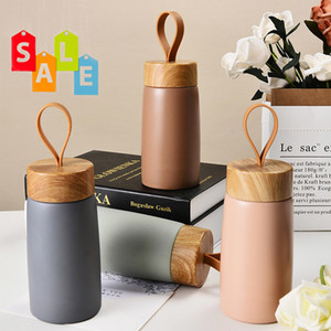 Wholesale tea grains for sale - Group buy Nordic Style Insulated Coffee Cup Stainless Steel Wood Grain Mug Thermos Portable Travel Water Bottle Tea Mug Thermocup