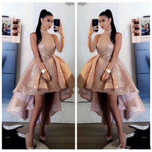 Wholesale gold prom dresse resale online - Bling Bling Sequins Rose Gold High Neck Prom Dresse Sexy Short Front Long Back Sleeveless Formal Party Evening Gowns vestido de gala