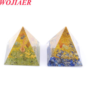 Wholesale amethyst pyramid resale online - WOJIAER Healing Rose Gold Wire Orgone Pyramid Stone Natural Gravel Resin Energy Generator for Meditation Reiki Balancing DBO935