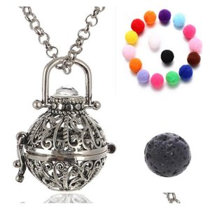 Wholesale aromatherapy necklace resale online - Openwork Essential Oil Necklace Aromatherapy Jewelry Jewelry Lockets Aromatherapy Pendant Lava Volcanic Stone Metal B379Q R46T9