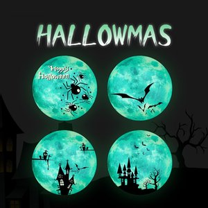 Wholesale mirror moon resale online - Luminous Moon Wall Sticker For Kids Room Halloween Decoration Sticker Luminous Castle Wall Decal Bedroom Glow In The Dark Stickers OWE2164