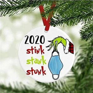 2020 Stink Stank Stunk Ornament Ceramic Round Grinch Hand Xmas Pendant Funny Decor Ornament Face Cover Pattern Creative Gift