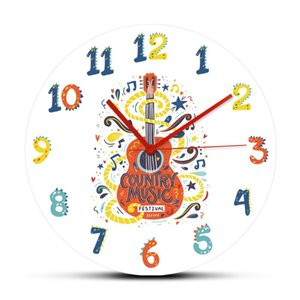 ingrosso chitarre di moda a parete-Acoustic Guitar Country Music Nashville Grande appeso a parete in acrilico Orologio Do not Forget Me Industria cinematografica Moda Wall Art orologio