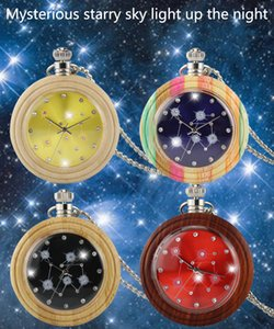 Wholesale unique pocket watches resale online - Unique Colorful Bamboo Wood Quartz Pocket Watch Fashion Candy Color Maple Wooden Round Case Necklace Sweater Chain Clock Relojes de bolsillo