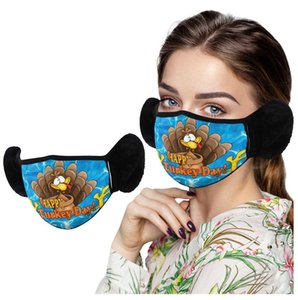 Wholesale mouth masks for winter resale online - Thanksgiving Mask Winter Earmuffs Face Masks Men Women Ear Protection Turkey Printed Washable Mouth muffle for Thanksgiving Day E110407