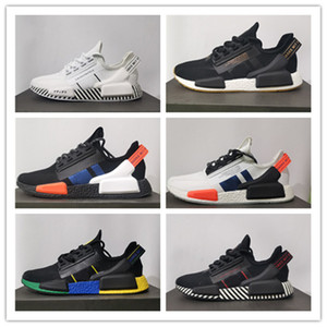 Wholesale nmd runner primeknit shoes resale online - Top quality NMD Runner R1 V2 Primeknit Triple black White Running shoes For Men Women OREO NMDS des chaussures Sports sneakers