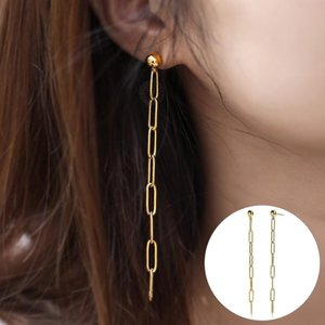 Wholesale stub earrings for sale - Group buy Long Drop Earrings Women Gold Color Stainless Steel Rolo Link Chain Stub Earring Fashion Jewelry Gifts DE58