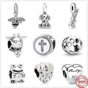 925 Sterling Silver Electric Guitar bee mine Poodle Puppy Dog Dangle DIY fine beads Fit Original Pandora Charm Bracelet Jewelry